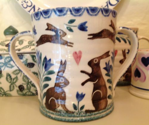Bell pottery leaping hare loving cup pottery cups and for Clay pot painting techniques