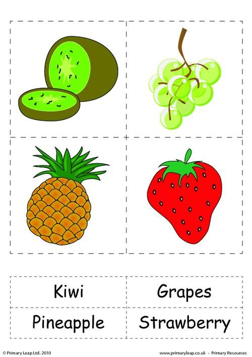 Set of 4 flashcards with words - Fruit