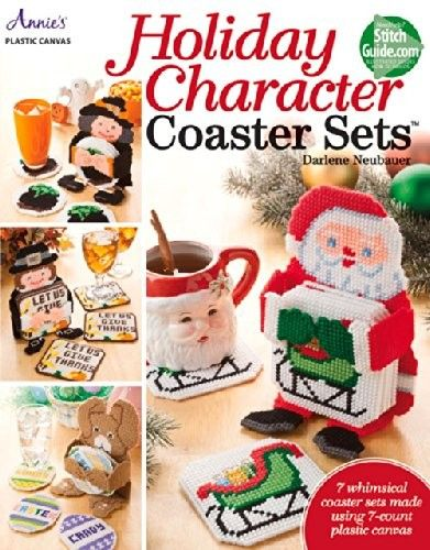 Holiday Character Coasters - Get ready for the holiday crowd by stitching 7 festive coaster sets. Each set is stitched on 7-count plastic canvas and includes a coaster holder and 6 coasters. Designs include: Snowman, Santa, Pilgrim, Witch, Uncle Sam, Bunny and Leprechaun