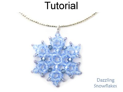 Beaded Crystal Snowflake Pendant Necklace Earrings Downloadable Beading Pattern Tutorial | Simple Bead Patterns
