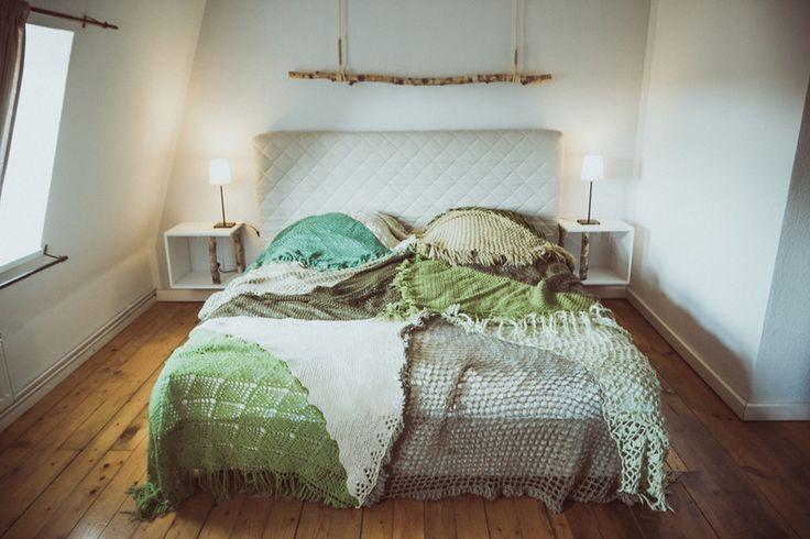Quilts & Patchwork - Tagesdecke Überwurf Quilt aus Vintage Strick GRÜN - ein Designerstück von TIPIYEAH bei DaWanda