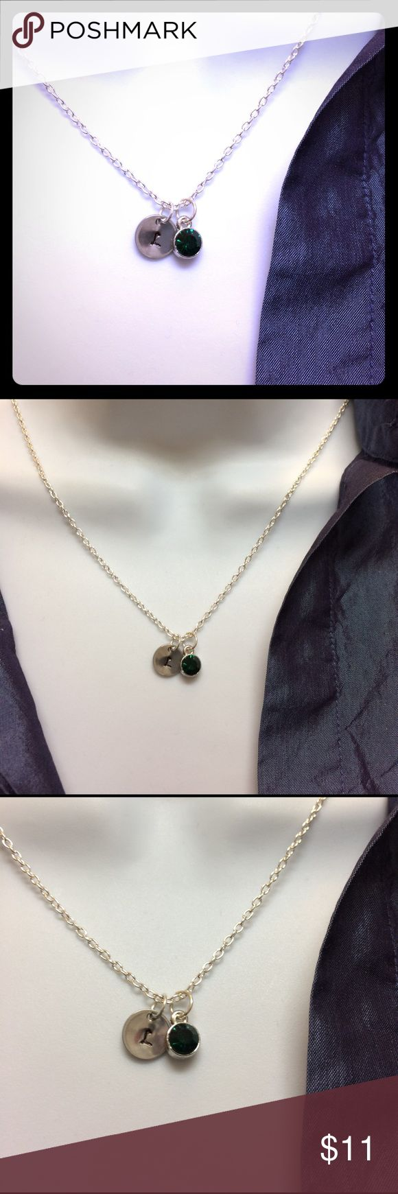 """May green birthstone choose initial necklace. Personalized May green birthstone with initial of your choose, will hand stamp for you per order.  Necklace 19"""".  Crystal birthstone: 10mm------#b4371 Jewelry Necklaces"""