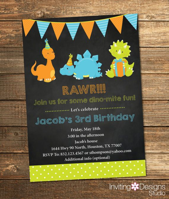 Dinosaur Birthday Invitation Boy By InvitingDesignStudio