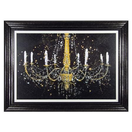 Black Chandelier Canvas with Wooden Frame