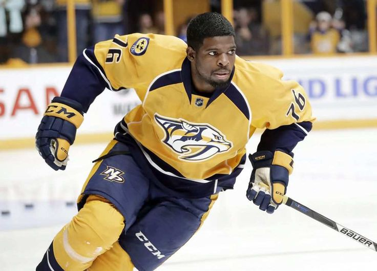 Nashville Predators defenceman P.K. Subban warms up before the team's NHL hockey preseason game against the Tampa Bay Lightning in Nashville, Tenn., Oct.1, 2016. Canadian NHL star Subban will take to centre ice as the featured subject of a new HBO Canada documentary. THE CANADIAN PRESS/AP/Mark Humphrey