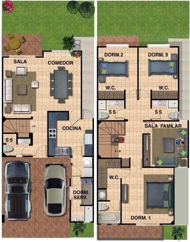 Plano de casa de 180 mt². Terreno de 7 metros de frente x 19 m de fondo (133 m2). Tres dormitorios y 1cuarto de servicio,cochera para 2 ca...