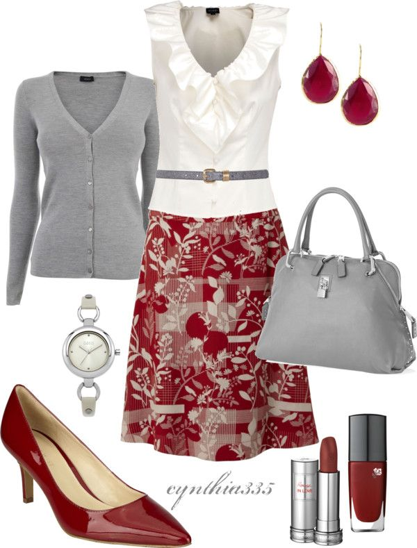 """I just wish that they would pair more flats with these outfits...  """"Red and Gray"""" by cynthia335 on Polyvore"""