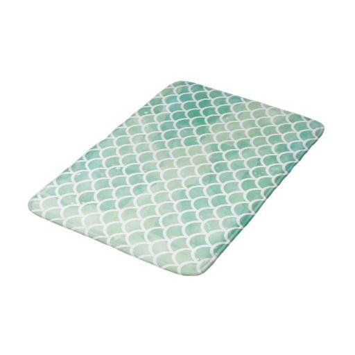 Ocean Blue Watercolor Japanese Fan Pattern Bathroom Mat