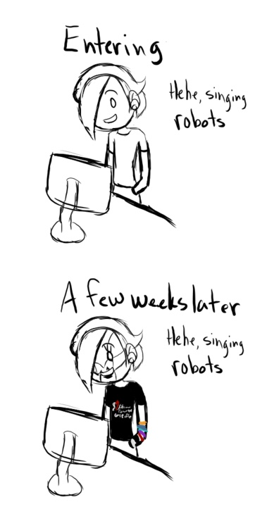 Exactly what happened to me!  ...and now I walk around at conventions as a robot mix up of the jon, rabbit & the spine. :-)