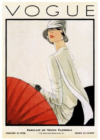 Vogue US Cover - January 1928 - Illustration by Porter Woodruff - Condé Nast Publications