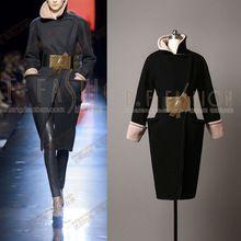2016 Öncesi bahar Vogue Koleksiyonu Lüks Marka Haute Couture İnce siyah yün ile Ayarlanabilir Bel coat kemer HG62(China (Mainland))