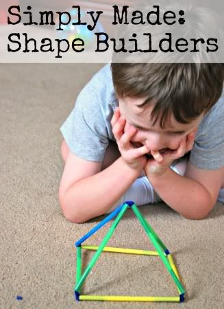 Cut the pipe cleaners in half, and then half again. Cut the straws. You will want more than one length available for your shape building (ex. rectangles need both long and short sizes) To build shapes: Bend a pipe cleaner in half, slide on a straw.