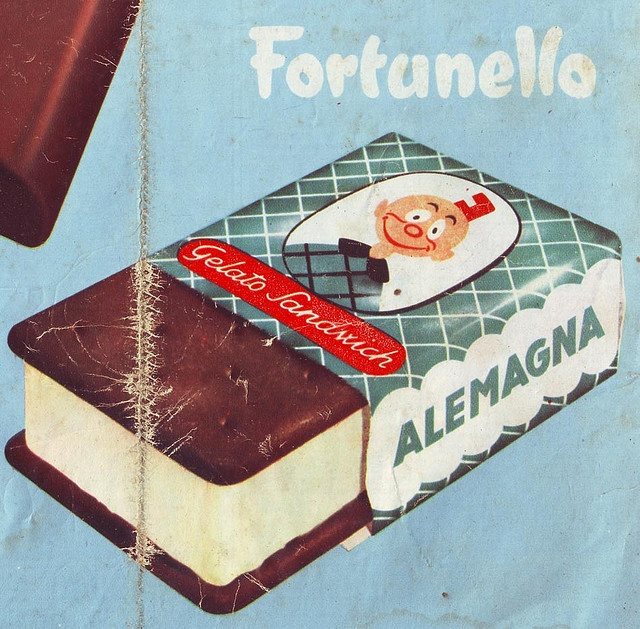 Fortunello. Alemagna ice cream ad, Italy 1956. Submitted to Flickr by tonto--kidd.