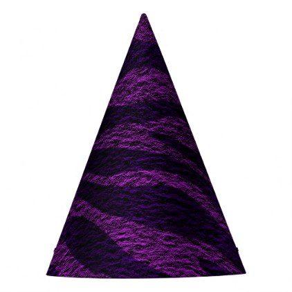 Purple Zebra Print Wild Jungle Birthday Party Party Hat - chic design idea diy elegant beautiful stylish modern exclusive trendy