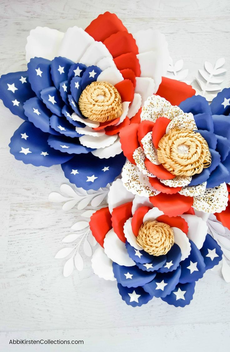 Tutorial for Making Paper Flowers: American Flag Swirl Paper Flowers