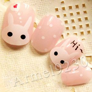 Hi~pure Rabbit Pink Kawaii Nail Art Tips Acrylic Lovely Polka dot False