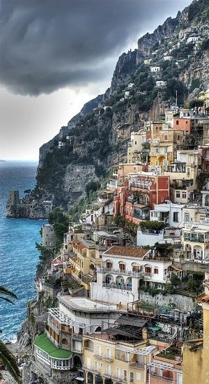 Positano, vertical panorama of colors