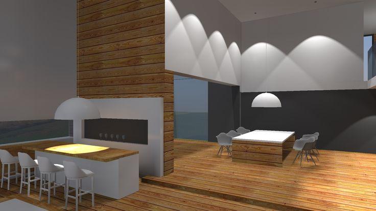 Projekt domu jednorodzinnego- jadalnia oraz wine bar