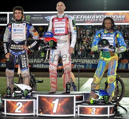 Chris Holder (Avstralija), Tomasz Gollob (Poljska) in Antonio Lindbäck (Švedska)