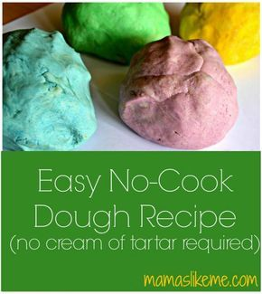 Easy No-Cook #Dough Recipe - with no cream of tartar required.  This is great for #preschool and #toddlers and I already have everything I need in the kitchen!