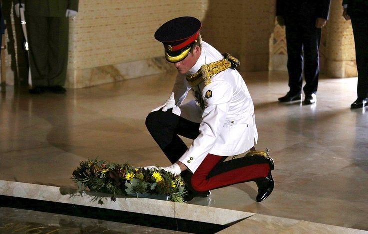 Prince Harry laying a wreath at the Australian War Memorial Canberra Australia.
