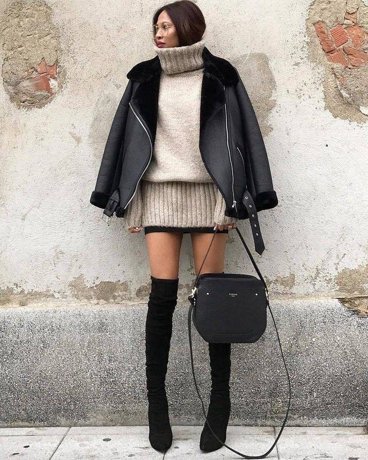 Photo @olaizolav #womanslook  очки #kaleoseyehunters  пуловер дубленка и ботфорты #zara  сумка #cameliaroma
