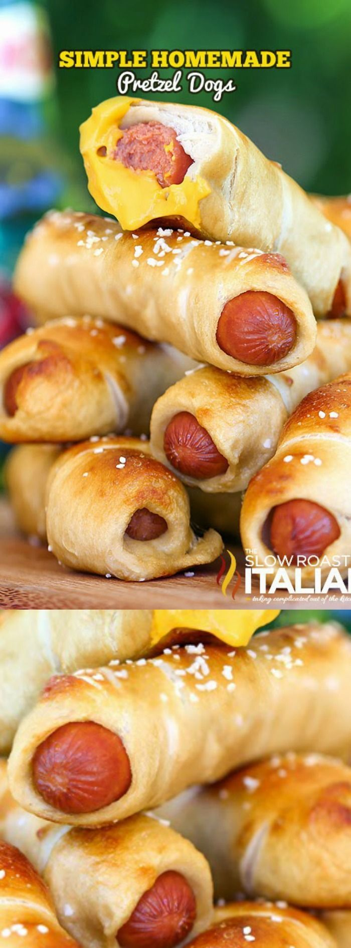 These Simple Homemade Pretzel Dogs from The Slow Roasted Italian are hot dogs that are baked right inside of a soft beer pretzel! They are seriously the tastiest and easiest homemade pretzel dogs you will ever eat!