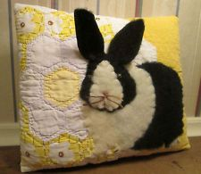 Charming Applique BUNNY Rabbit PILLOW made from VINTAGE Flower Garden QUILT