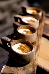 soured milk with preserved cloudberries (so swedish).
