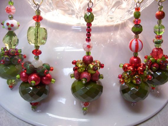 Christmas Dangles in olive and red