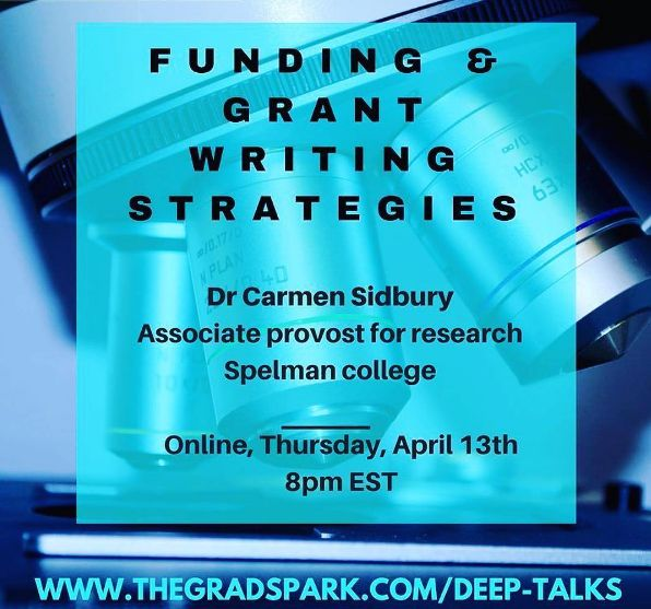 Interesting @thegradspark deep talk, on April 13, for all of our thinkers, researchers and creators in STEM...it's always good to know how to garner the funds to succeed at your dreams check out @thegradspark deep talk with Dr. Carmen Sidbury of @spelman_college to learn how to do so with grants and other resources!💸💰💡 ✨ ✨ ✨ #thegradspark #womenineducation #womeninresearch #innovation #womenwhowork #hbcu#spelmancollege #grantwriting #supporteachother #melaningenius #knowledgeispower…