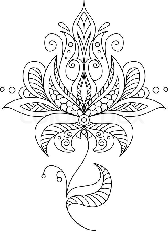 Stock vector of 'Pretty dainty ornate vintage floral motif in a black and white calligraphic outline, vector illustration'