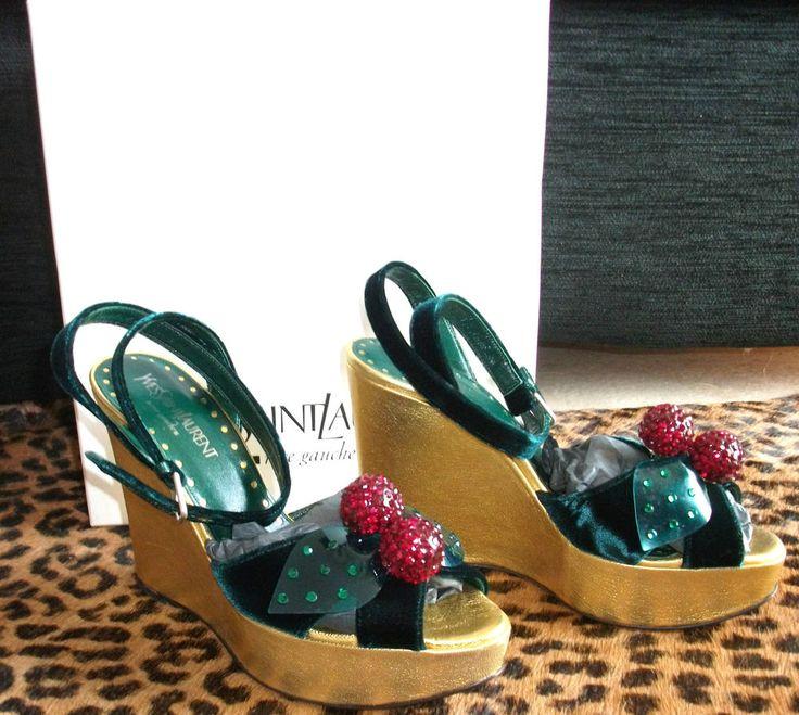 Yves saint laurent ysl cherries green velvet platform shoes size ...