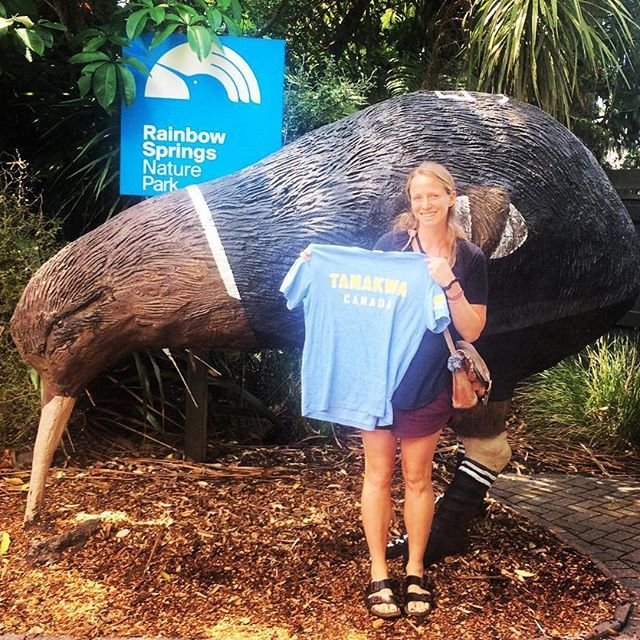 They sure do love the @allblacks here in New Zealand, but I think we could convince this Kiwi bird to cheer for the Green Machine... if only the #TamakwaTshirt came in his size! #Andrea says Kia Ora from NZ!!! #tamakwatravels
