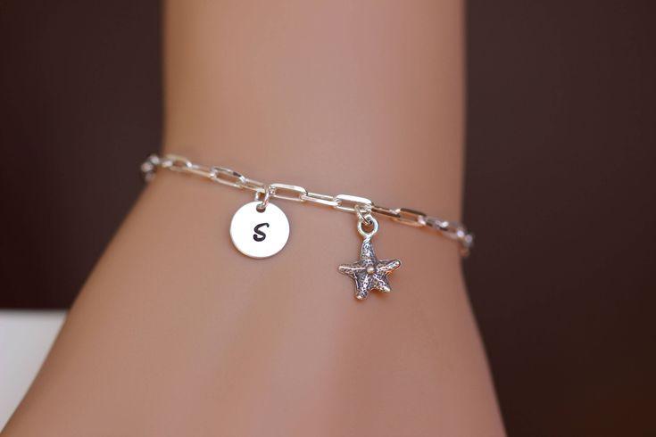 Personalized Starfish bracelet - Starfish bracelet silver - Initial bracelet -  summer Beach wedding Bridesmiad gift -  Bridal bracelet by rainbowearring on Etsy https://www.etsy.com/listing/536846027/personalized-starfish-bracelet-starfish