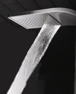Cod. CLAI01CC3CR Colonna da pavimento in acciaio satinato multifunzione anticalcare con miscelatore. Finiture: Acciaio Antiscale floor stainless steel shower column multifunction with mixer. Available: Stainless steel