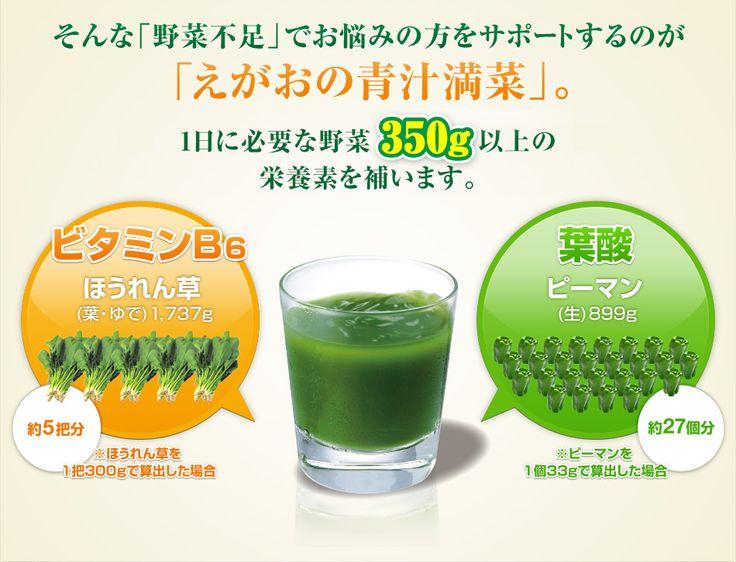 B6:ほうれん草 約5把分/葉酸:ピーマン約27個分 青汁満菜 - LP