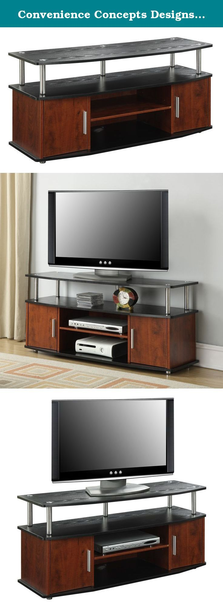 Convenience Concepts Designs2Go Monterey TV Stand, Cherry Black. The Designs2Go Monterey TV Stand in a rich two tone Black and Cherry wood grain finish is a great way to add a touch of elegance to your home in a modern way. Featuring two enclosed cabinets for concealed storage and three open shelves that make cable management a breeze. The Monterey TV stand is easy on the eyes while providing plenty of space for all of your media components.