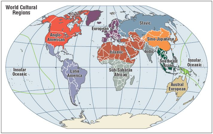 WORLD Cultural Regions. | REF Geo - world regions | Pinterest ...