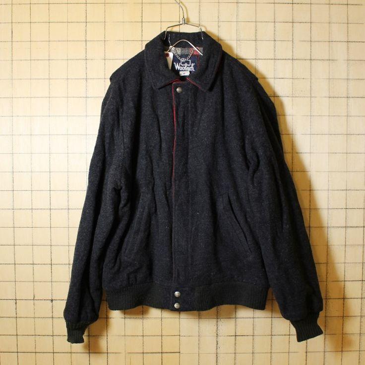USA製 80s 古着 Woolrich ウールジャケット メンズM ダークグレー ウールリッチ チェック柄