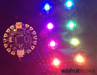 Wearable FLORA from AdaFruit- An open-source electronics platform.  Apps for iPhone, iPad, Andriod systems coming soon!