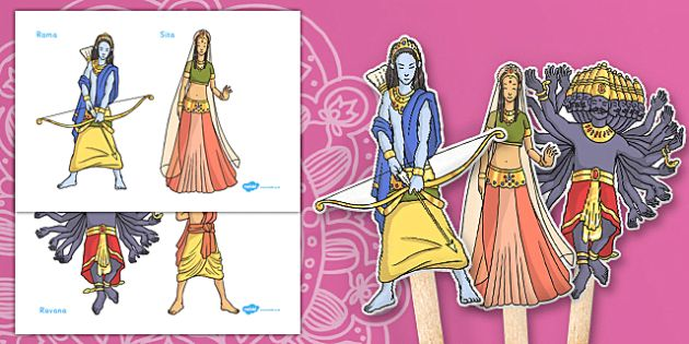 Diwali Story Puppets - diwali, story, puppets, stick puppets