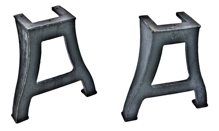 matching set of original and solidly-constructed antique american industrial early 20th century freestanding cast iron curvaceous machine shop turret lathe legs