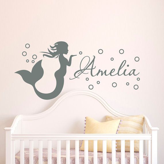 Mermaid Wall Decal Girl Name Decals Vinyl Stickers- Girl Nursery Wall Decal Personalized Name- Mermaid Girls Kids Baby Room Wall Decor  Approximate