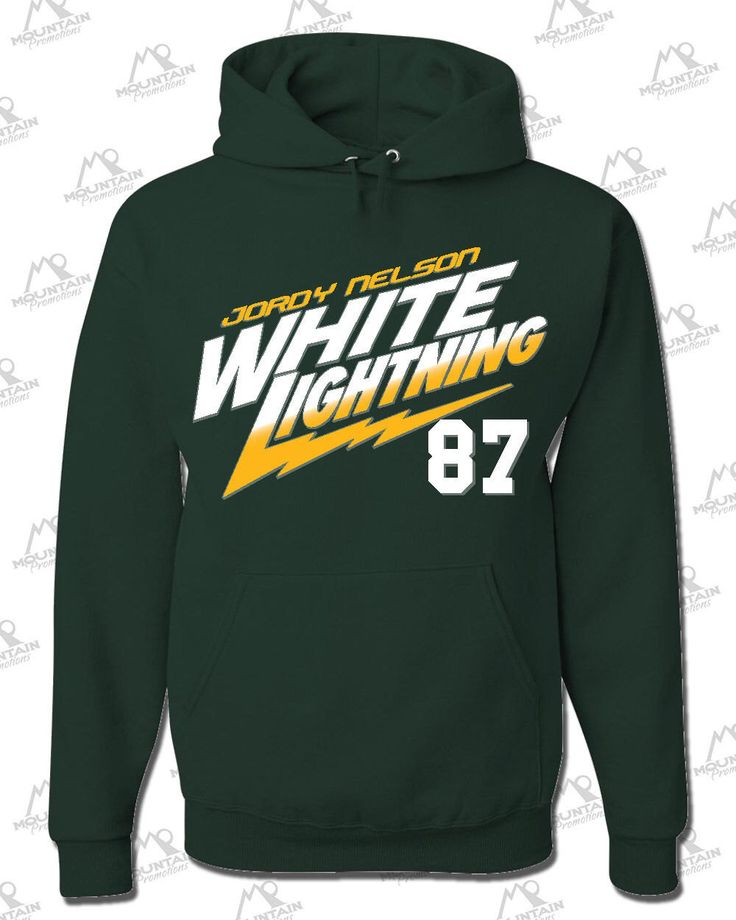 """JORDY NELSON #87 Green Bay Packers Wide Receiver """"White Lightning"""" HOODIE by MountainPromotions on Etsy https://www.etsy.com/listing/213413683/jordy-nelson-87-green-bay-packers-wide"""