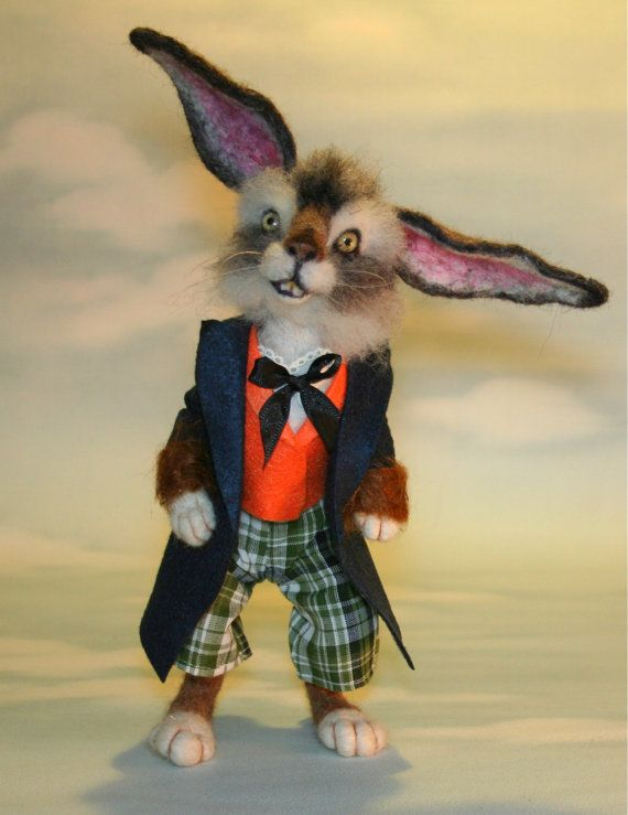 *NEEDLE FELTED ART ~ Wonderland The March Hare t Needle felted Storybook OOAK by SteviT on Etsy