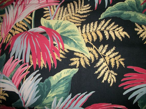 "Vintage 1940s lush tropical drapery fabric 1 3/4 yards ""Palmetto"""