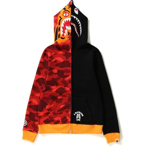 COLOR CAMO TIGER SHARK FULL ZIP HOODIE LADIES ($615) ❤ liked on Polyvore featuring tops, hoodies, camo print hoodie, camo hoodies, camo top, camo print top and camouflage hooded sweatshirt