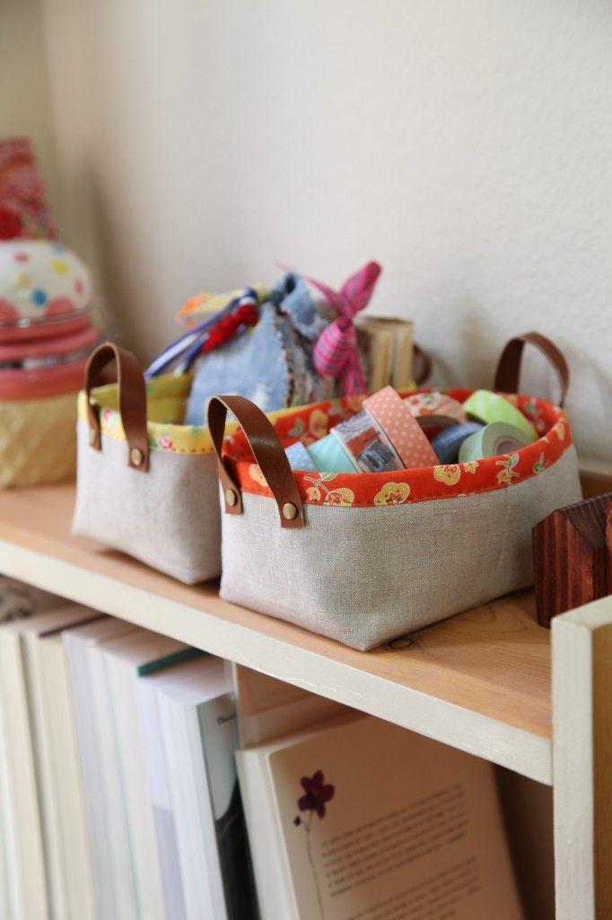 Diy Utensils, Körbchen mit Griffen nähen Fabric storage baskets