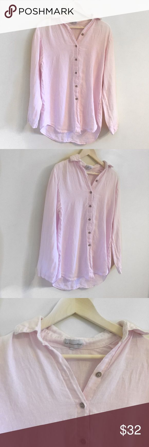 Soft Surroundings Pink Linen Button Down Size SM Outer Banks Button Front Shirt #973from Soft Surroundings. Pink linen button down size small.  Gently worn no flaws. Soft Surroundings Tops Button Down Shirts
